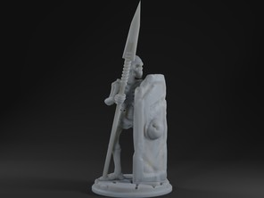 Living Bones with Long Spear and Tower Shield