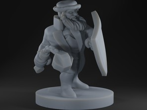 Dwarf in Longcoat with Flail