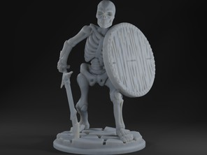 Skeleton with Longsword and Round Shield