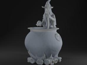 Witch Hettie with cauldron