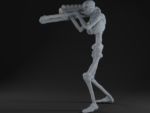 Skeleton playing a trombone