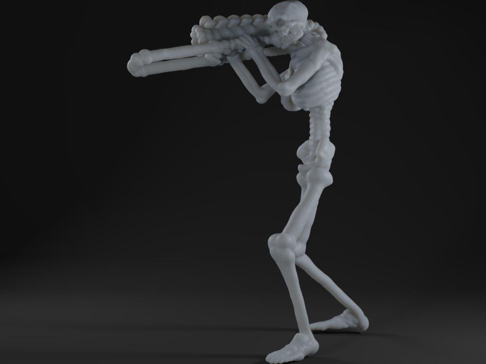 Skeleton playing a trombone