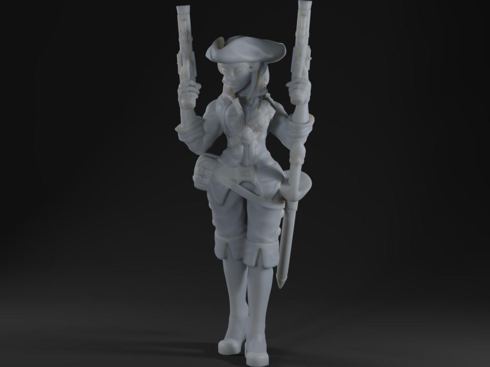 Dual Flintlocks Pirate Miniature