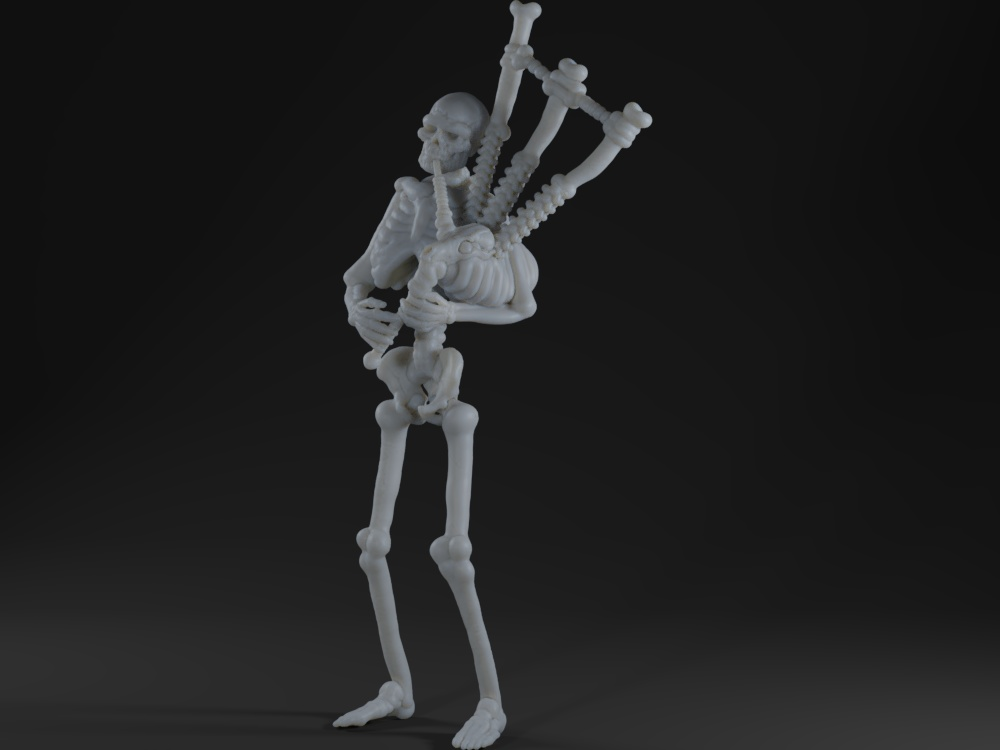 Skeleton playing bagpipes